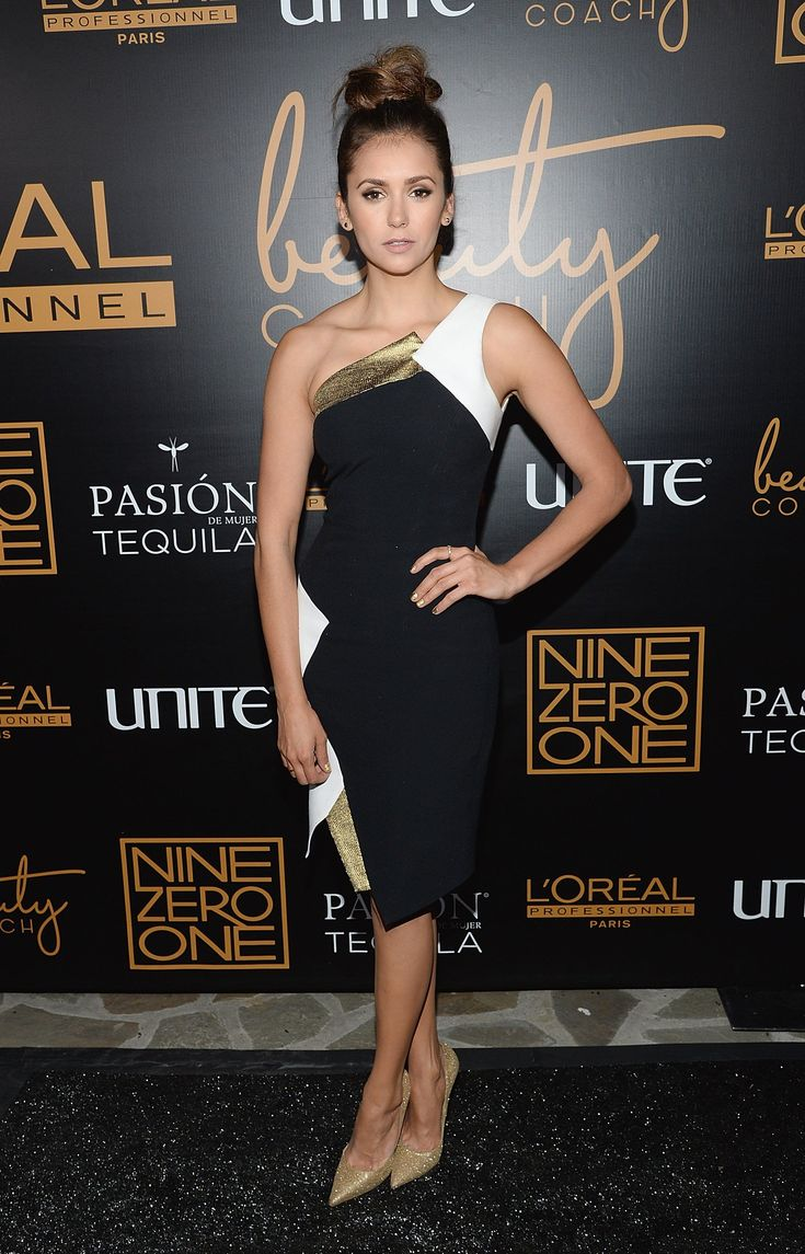 It was black, white, and gold for Nina at the Nine Zero One salon launch party, where she stepped out in an Andrew Gn dress and Jimmy Choo heels. – High Heels Womens