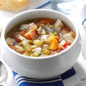 Skinny Turkey-Vegetable Soup Recipe from Taste of Home | The blend of flavors and colors in this hearty soup will bring everyone at the table back for more.