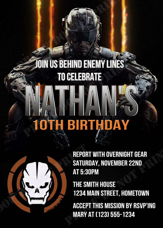 Call of Duty Black Ops 3 Party Invitations *Need Party Invitations Fast? With our DIY Printing Option, you'll have your files today!