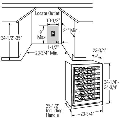 Install measurements for wine fridge