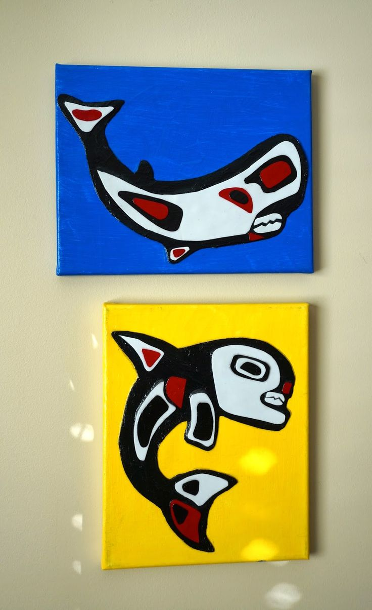 I recently completed these Inuit Whale portraits with Grade 2 in my current residency. It is mixed media on canvas.  We did them in multiple layers so there is some 3D action happening.  I was surpris