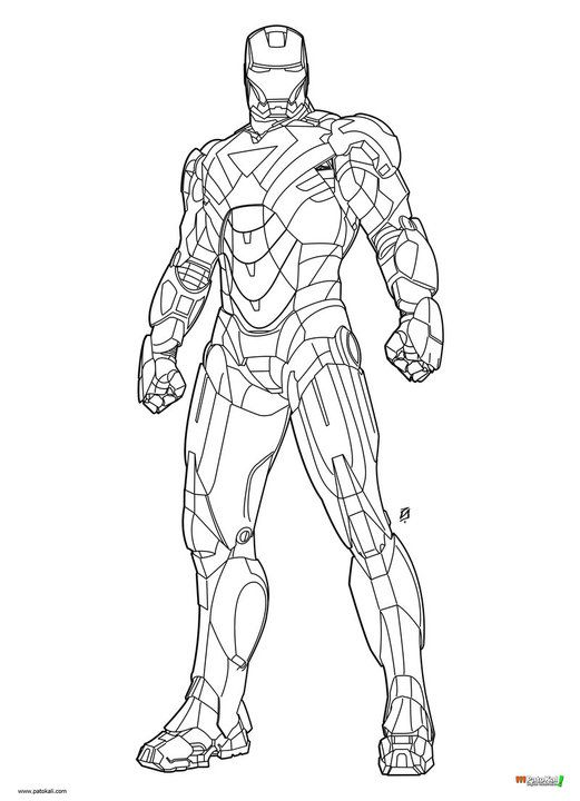Iron Man Mark 6 Coloring Page 521x720