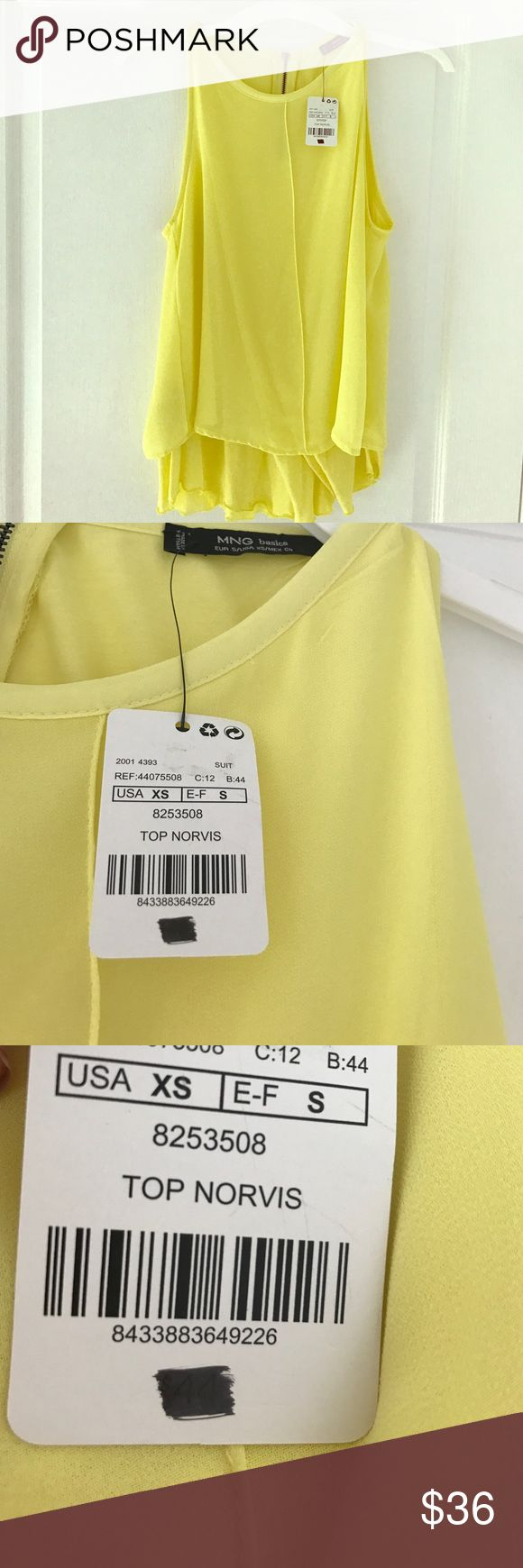 Brand new yellow flowy top from Mango Top has never been worn, still has tags on it. Zipper closure in the back Mango Tops Blouses