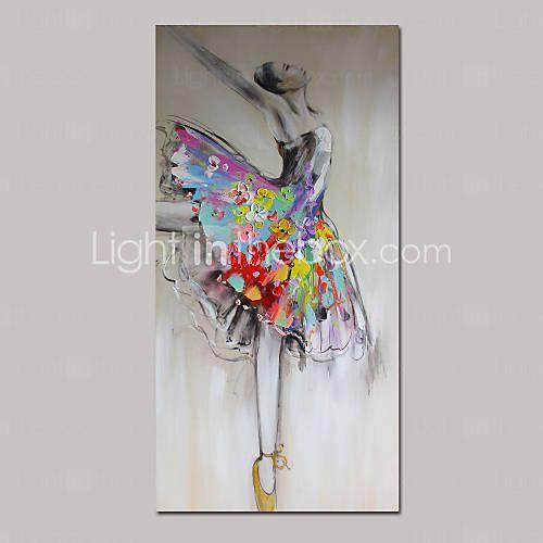 Pintados à mão Paisagem / Pessoas / Fantasia Pinturas a óleo,Tradicional 1 Painel Tela Hang-painted pintura a óleo For Decoração para casa de 4832055 2016 por R$529,55