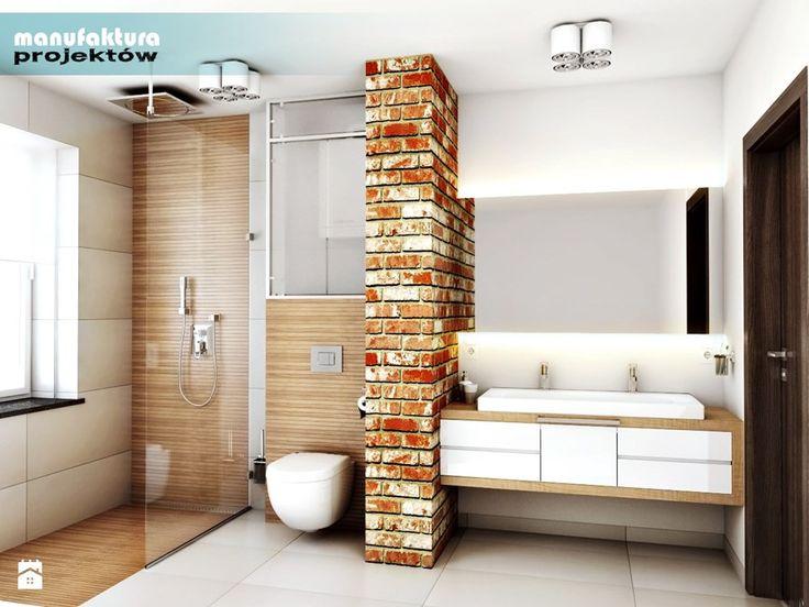 """Odrodzenie starych """"familoków"""" przy KWK Marcel - Duża łazienka w domu jednorodzinnym z oknem, styl industrialny - zdjęcie od Manufaktura Projektów"""