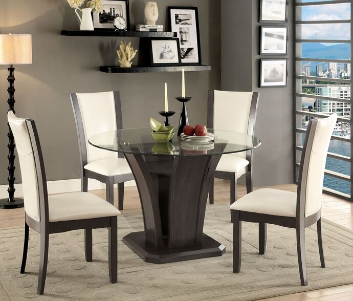 5 Pc Manhattan I Contemporary Style Gray Finish Wood Base And Round Glass Top Dining Table