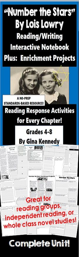"""No-prep standards based """"Number the Stars"""" interactive notebook complete unit with follow-up reading response activities for every chapter as well as enrichment projects! Easy engaging way to use this award winning novel by Lois Lowry in your classroom while encouraging critical reading skills.  Everything you need to use this novel in your classroom effectively is included with this resource.  This interactive notebook includes activities and vocabulary for every chapter of the book. $"""