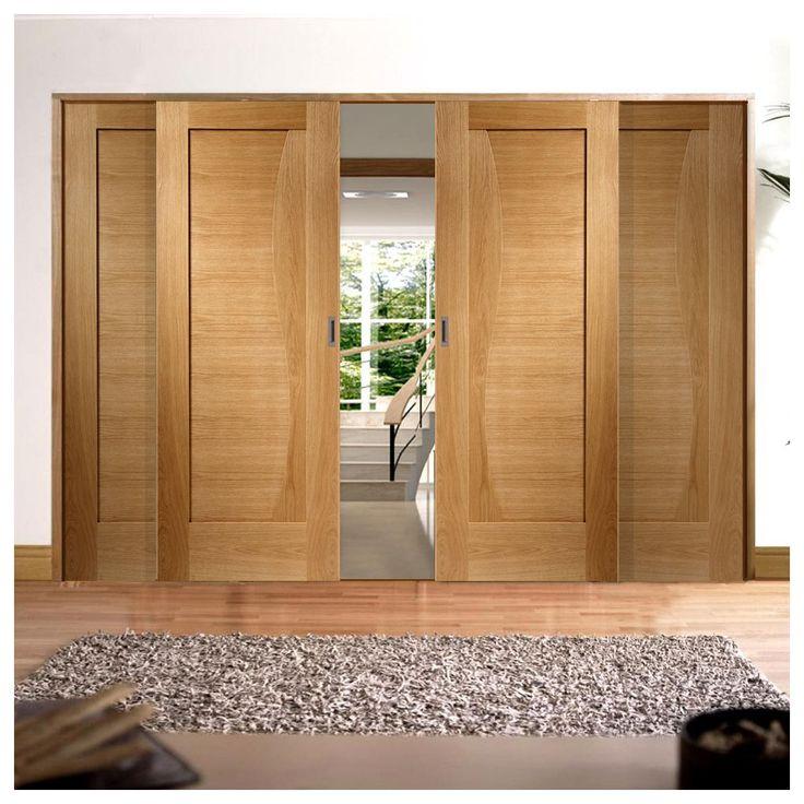 Easi-Slide OP1 Oak Emilia Flush Sliding Door System in Three Size Widths. #oakslidingdoors #oakroomdividers #slidinginternaldoors