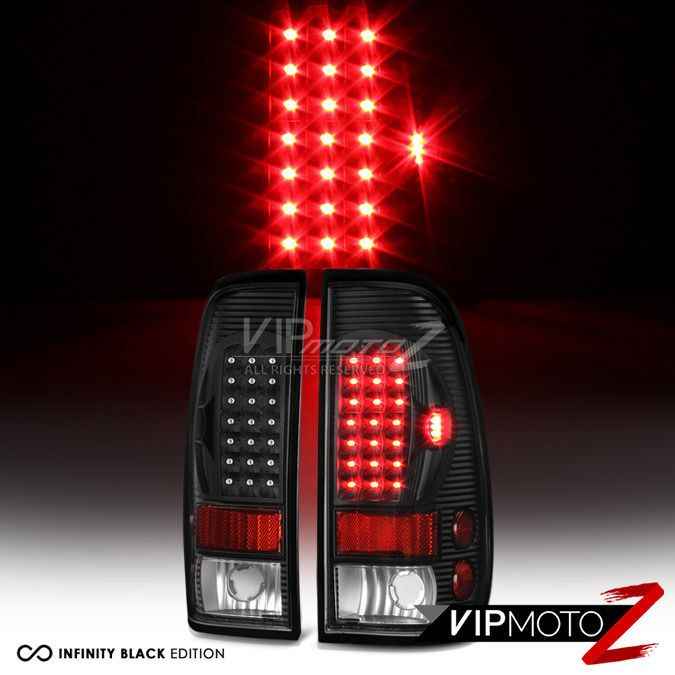 1997-2003 F150 | 1999-2006 F250 F350 Black LED Rear Tail Lights Brake Lamps Set #VIPMOTOZ