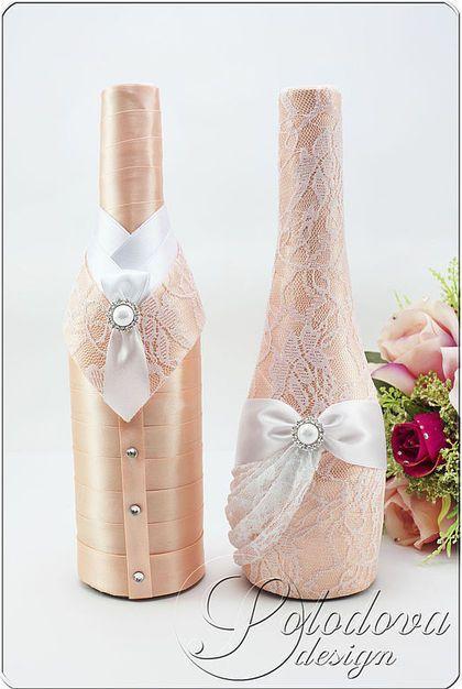 """Свадебное шампанское """"Персиковое комильфо""""rnШампанское свадебное,шампанское на свадьбу, шампанское для свадьбы,свадебные бутылки,Украшение на свадебное шампанское."""