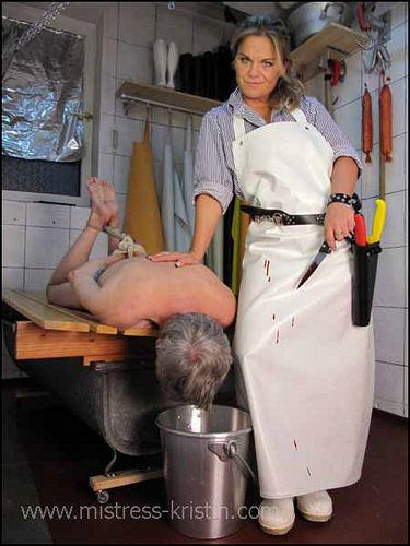 Butcher mistress kristin slaughter pig role play sow babe 8