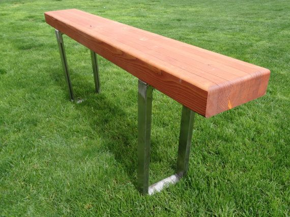 Contemporary Glulam Beam Bench With 2inch Steel Support