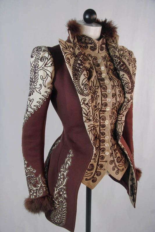 Machine Embroidered Jacket, ca. 1890s. Owned by Jessie Mason Webb, via NDSU. < See more at: http://ephemeral-elegance.tumblr.com/post/89535531165/ >