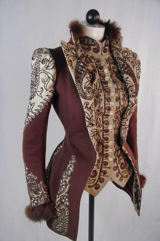 ephemeral-elegance: Machine Embroidered Jacket, ca. 1890s Owned by Jessie Mason Webb via NDSU