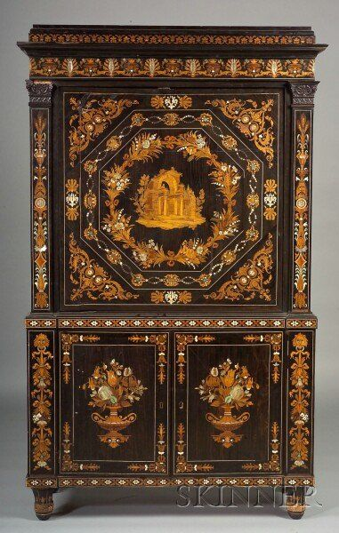 Sold For: $47,000   Italian Fruitwood Marquetry And Mother Of Pearl Inlaid  Ebony