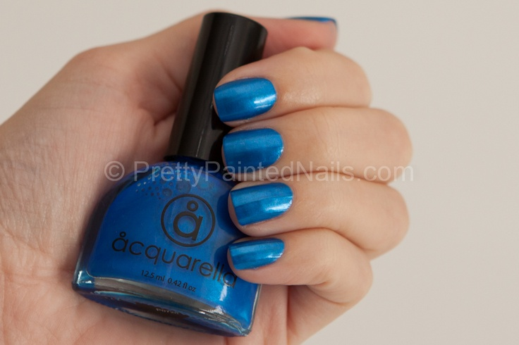Acquarella Water-Based Nail Polish Swatch Shalom (Metallic Blue)  http://prettypaintednails.com/water-based-nail-polish/acquarella-swatches-shalom-blue