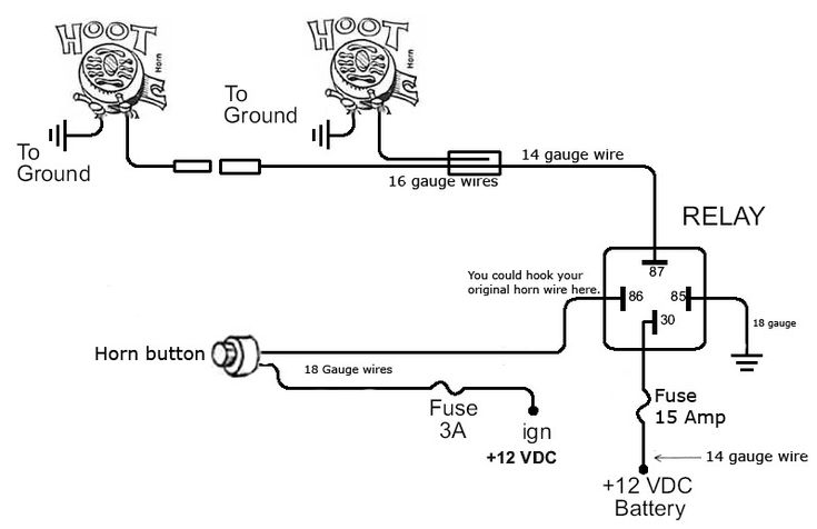 through a horn relay wiring a horn horn wiring diagram - http://www.automanualparts.com/horn ... car horn relay wiring schematic