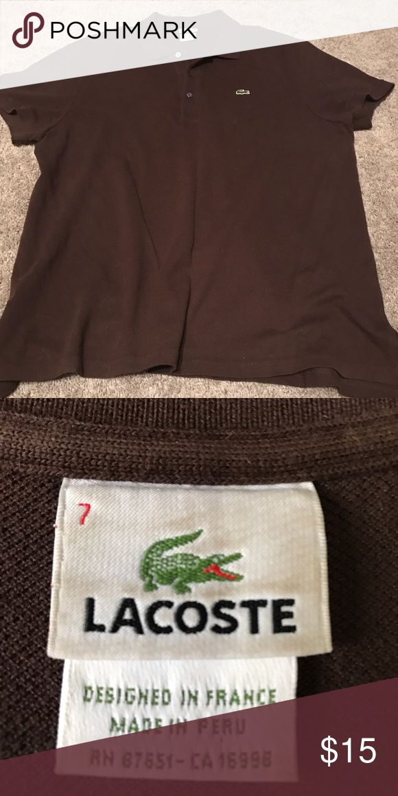 Men's Brown Lacoste Polo Size 7 For Sale is a Men's Brown Lacoste polo size 7 (Large). Sleeve are rather short on shirt but great for showing of your arms. Shirt is worn and still has plenty of life left. 100% Authentic purchased from Neiman Marcus. Lacoste Shirts Polos