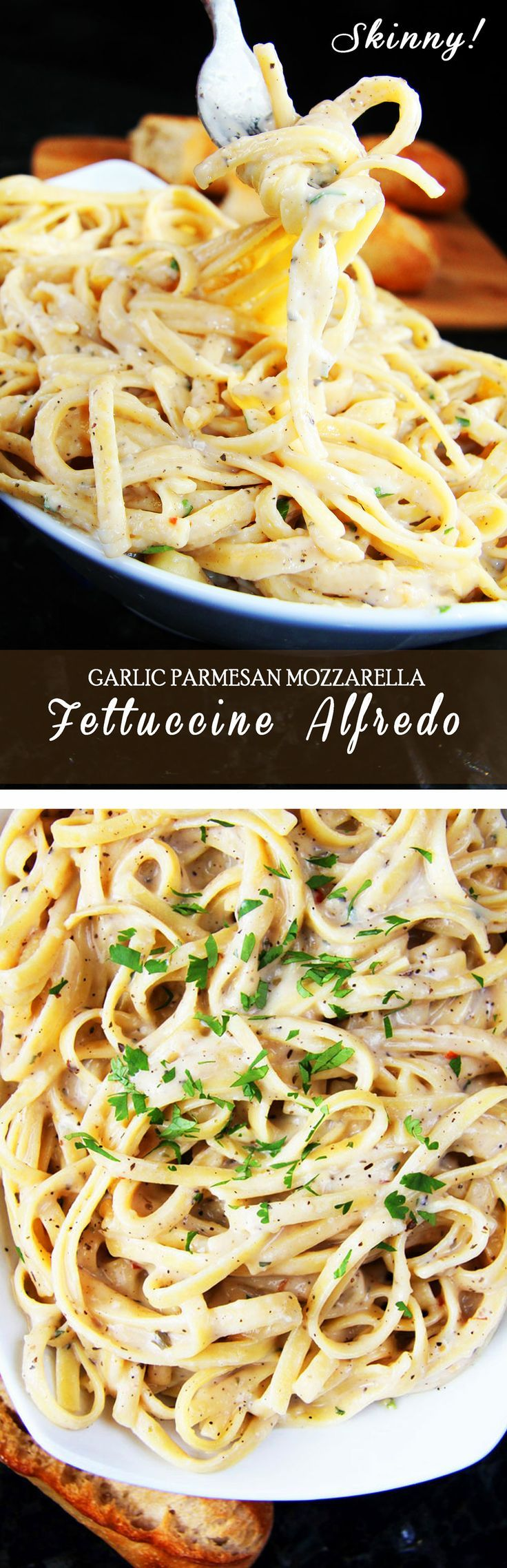 SKINNY Garlic Parmesan Mozzarella Alfredo. Rich and creamy without any butter, heavy cream or cream cheese!!! The pairing of both Parmesan cheese and mozzarella cheese adds a depth of flavor while complimented by garlic, basil, parsley and red pepper flakes.   Carlsbad Cravings