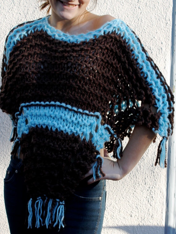 Chocolate Brown & Tiffany Blue Hand Knitted Poncho by hanaleib, $125.00