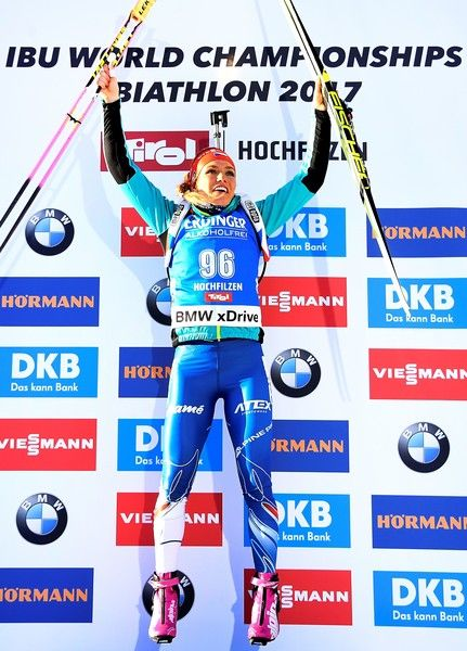 Gabriela Koukalova of Czech Republic celebrates on the podium after winning the Women's 7,5 km Sprint race during the 2017 IBU Biathlon World Championships in Hochfilzen, on February 10, 2017. / AFP / FRANCK FIFE