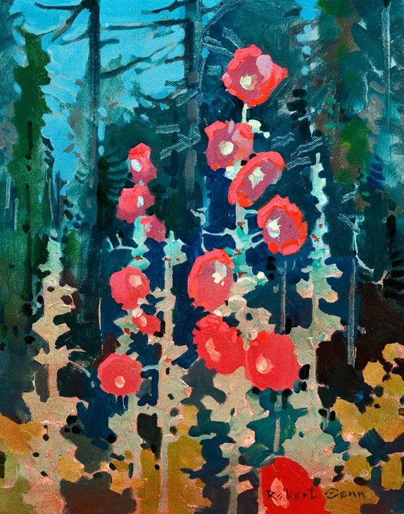 """""""Hollyhock at Hollyhock II, Cortes Island,"""" by Robert Genn 11 x 14 - acrylic $3000 Unframed"""