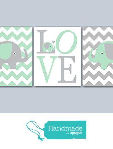 Mint Gray Elephant Nursery Wall Art, Elephant Nursery Wall Art, Elephant Wall Art,Chevron Elephant Nursery Décor,Elephant Baby gift- UNFRAMED set of 3 Prints from Sweet Blooms Decor http://www.amazon.com/dp/B019JECGD6/ref=hnd_sw_r_pi_dp_TVHTwb1X2DQFD #handmadeatamazon