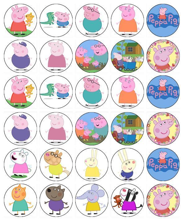 30 Peppa Pig And Friends Cup Cake Toppers Fairy Cake Birthday Party