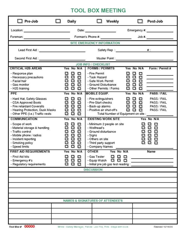 meeting checklist template images | Toolbox Meeting