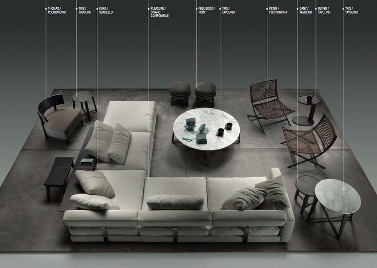 """Pleasure"" sofa by Flexform.  | #style #design #interiors #furniture"