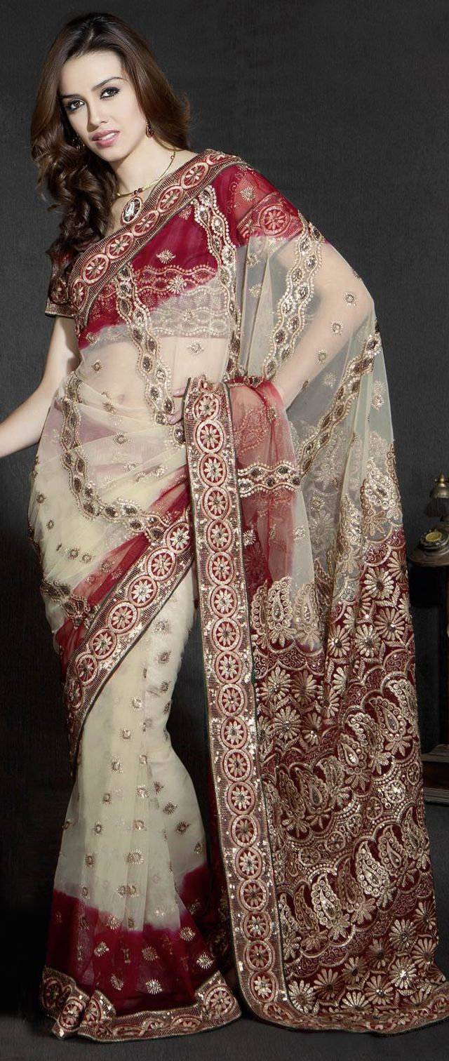 Cream and #Red Net #Saree with Blouse @ $50.19