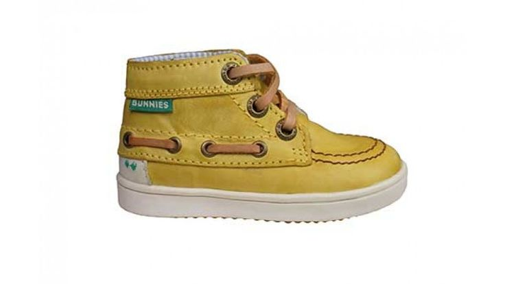 Bunnies jongensschoen hoge bootschoen veter Piet Pit geel leer