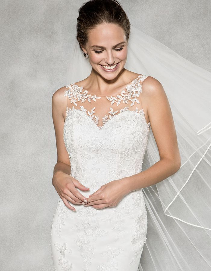 The sensational 'Megan' by Anna Sorrano ✨ A beautiful feminine Illusion neckline gown with delicate lace applique ✨ Could this be 'the one' for you ✨ www.wed2b.co.uk