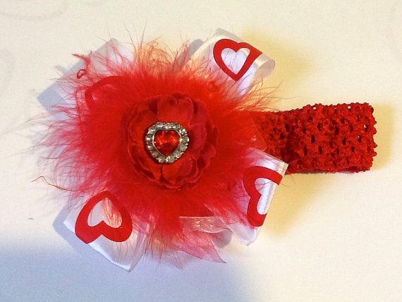 Perfect for Baby Valentine!! Handmade Valentine Heart Rhinestone Puff Headband by FancyGirlBoutiqueNYC, $18.99
