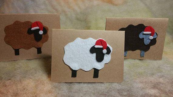 Christmas Cards Handmade Felt Sheep Cards by BondurantMountainArt