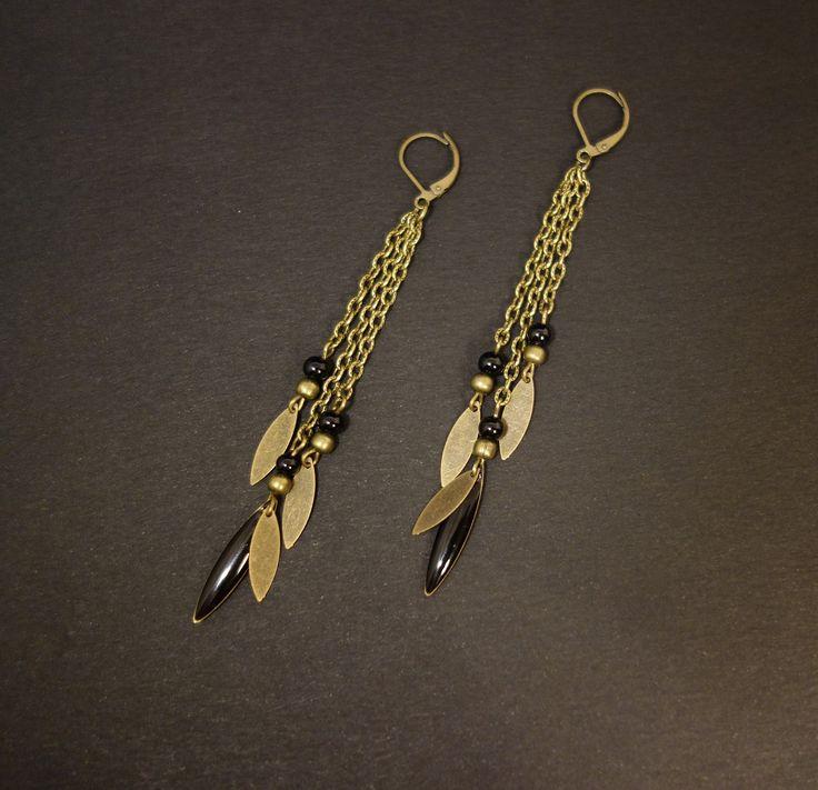 Boucles d'oreilles longues, noir et bronze