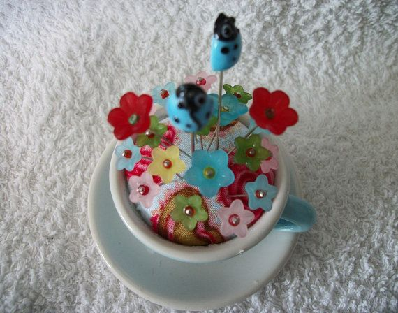 Baby Blue Tea Cup Pin Cushion by sharronmay on Etsy