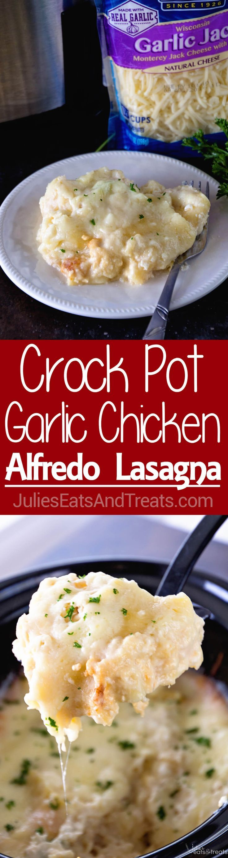Crock Pot Garlic Chicken Alfredo Lasagna ~ Slow Cooker Lasagna Loaded with Chicken, Alfredo and Garlic! This is the Perfect Comfort… #CrystalFarmsCheese #CheeseLove #ad