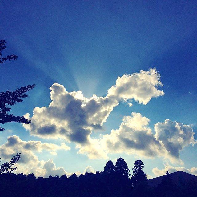 夏らしい雲になってきた🌥  実は #夕空 #光と影  #青空 #雲 #天使の梯子  #bluesky #夏空  #clouds #sky #blueskies  #summer #summertime
