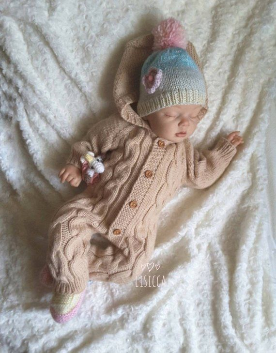 5e1498747b7 Hand knitted romper Knitted baby clothes Baby romper Knitted newborn ...