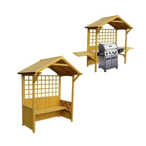 Garden-Arbor-Bench-Wood-Bbq-Station-Shelter-Backyard-Patio-Seat-Party-Side-Table