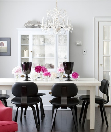 Black, White, and Pink Dining Room