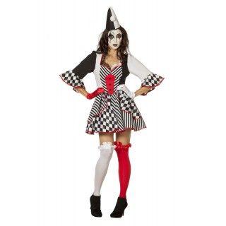 Pierrot Domino Vrouw Kostuum