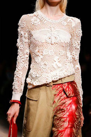 Irish #Crochet Sweater from Valentino via Outstanding Crochet