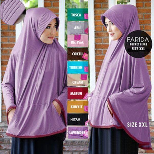 Jilbab Instan Bergo Pocket Jumbo Syar'i (Uk. XXL) dengan pet antem dan saku depan, dan aksen lis kain di sekeliling ujung jilbab. Ket: ukuran panjang depan