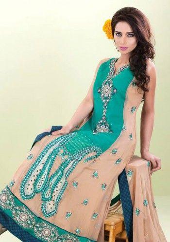 Cheap pakistani dresses online in usa   Sea Green/Peach A-Line Ankle Length Crinkle Chiffon Dress
