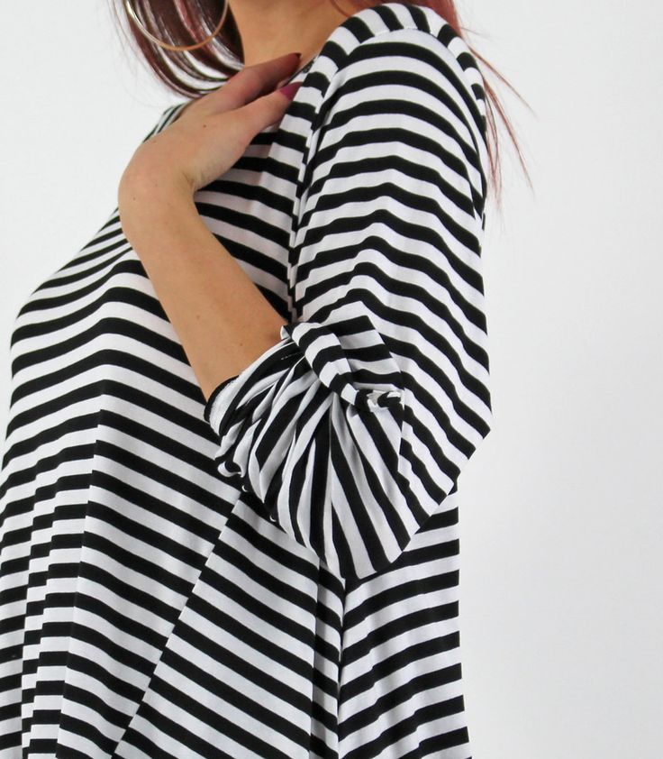 PinkCad2 Black & White Striped Drop Side Turn Up Sleeve Asymmetrical Top