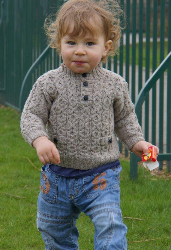 Boys'+hand+knitted+jumper+in+merino+wool+918+months+by+Teddyhug,+£71.00
