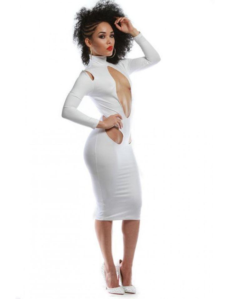 Quiz white bodycon turtleneck dress for kids zaire
