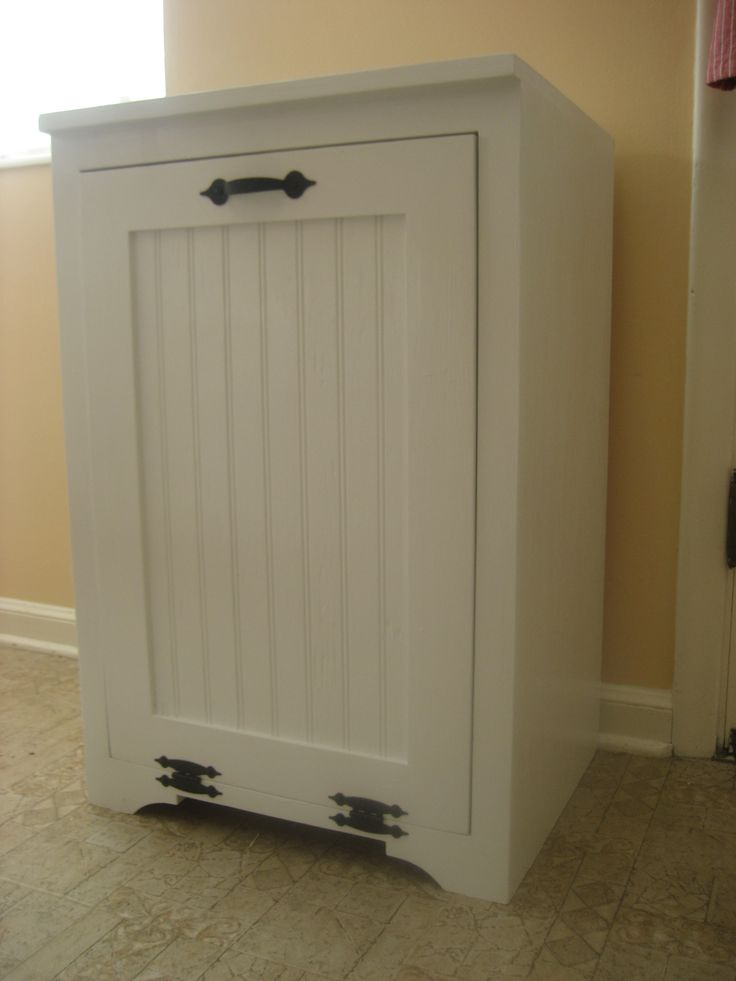 Tilt out wood trash can cabinet do it yourself home Diy white cabinets